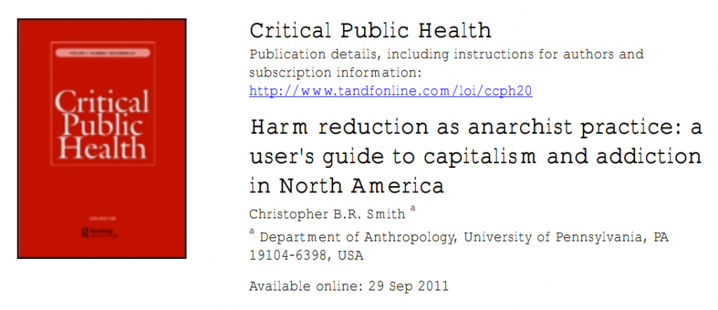 Book Cover: Harm reduction as anarchist practice: a user's guide to capitalism and addiction in North America